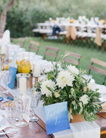 In questa foto un ricevimento di nozze allestito su un prato con tavoli imperiali di legno nudo e sedie abbinate. I colori usati sono il bianco e l'azzurro